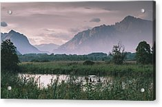 Leisure Boat On River Adda In Northern Italy, Close To Lake Como - Reflection Of Italian Alps Acrylic Print