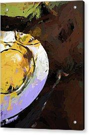 Lemon Bowl Fork Green Acrylic Print
