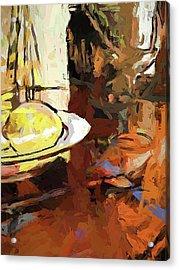 Lemon Bowl Wine Glass Fork Acrylic Print