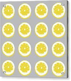 Lemon Slices On Grey- Art By Linda Woods Acrylic Print