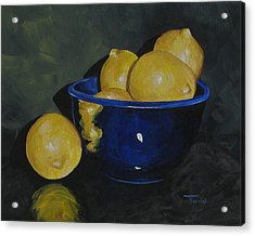 Lemons And Blue Bowl IIi Acrylic Print