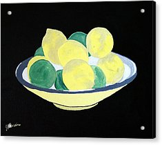 Lemons And Limes In Bowl Acrylic Print