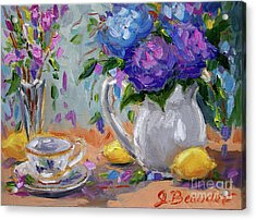 Acrylic Print featuring the painting Lemons And Purple  by Jennifer Beaudet