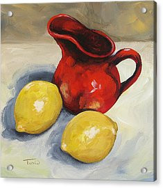 Lemons And Red Creamer Acrylic Print by Torrie Smiley