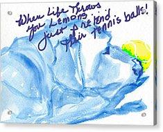 Lemons And Tennis Balls Acrylic Print by Sheila Wedegis