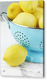 Lemons In Blue Acrylic Print by Stephanie Frey