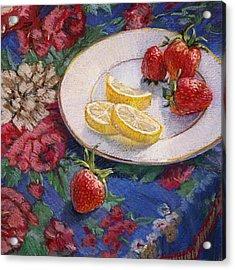 Lemons N Berries Acrylic Print by L Diane Johnson