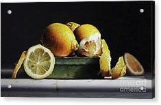 Lemons On A Tin Acrylic Print by Larry Preston