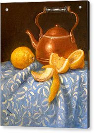 Lemons With Copper Teapot Acrylic Print by Donelli  DiMaria