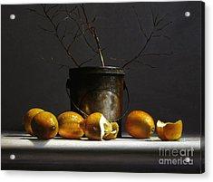 Lemons With Red Twig Dogwood Acrylic Print by Larry Preston