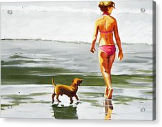 Leo And Kara On The Shore Acrylic Print by Rhondda Saunders