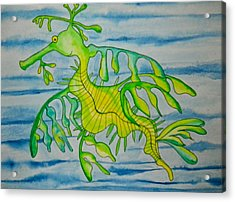 Leon The Leafy Dragonfish Acrylic Print by Erika Swartzkopf