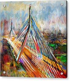 Leonard P. Zakim Bunker Hill Memorial Bridge 219 1 Acrylic Print by Mawra Tahreem