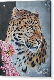 Leopard And Roses Acrylic Print