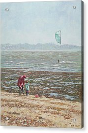 Acrylic Print featuring the painting Lepe Beach Windy Winter Day by Martin Davey