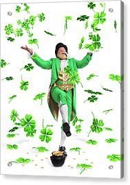 Leprechaun Tossing Shamrock Leaves Up In The Air Acrylic Print by Oleksiy Maksymenko