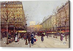 Les Champs Elysees, Paris Acrylic Print by Eugene Galien-Laloue