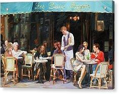 Les Deux Magots - Cafe Scene In Paris Acrylic Print by Dominique Amendola