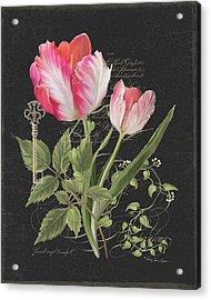 Les Fleurs Magnifiques En Noir - Parrot Tulips Vintage Style Acrylic Print by Audrey Jeanne Roberts