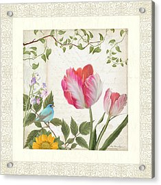 Les Magnifiques Fleurs I - Magnificent Garden Flowers Parrot Tulips N Indigo Bunting Songbird Acrylic Print