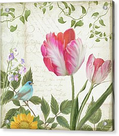 Les Magnifiques Fleurs IIi - Magnificent Garden Flowers Parrot Tulips N Indigo Bunting Songbird Acrylic Print
