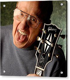 Les Paul With Tongue Out By Gene Martin Acrylic Print