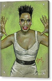 Acrylic Print featuring the drawing Leslie Jones by P J Lewis