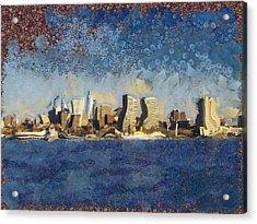 Less Wacky Philly Skyline Acrylic Print by Trish Tritz