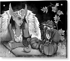 Let Me Explain - Black And White Fantasy Art Acrylic Print