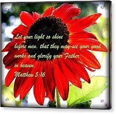 Let Your Light So Shine Acrylic Print by Robert Babler