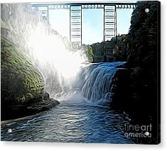 Acrylic Print featuring the photograph Letchworth State Park Upper Falls And Railroad Trestle Abstract by Rose Santuci-Sofranko