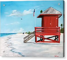 Let's Meet At The Red Lifeguard Shack Acrylic Print