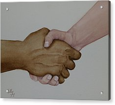 Let's Shake Hands On It Acrylic Print by Kelly Mills