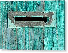 Letter Box On Blue Wood Acrylic Print