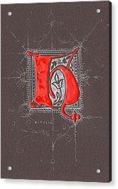 Letter H Acrylic Print by Kristine Jansone