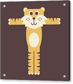 Letter T - Animal Alphabet - Tiger Monogram Acrylic Print