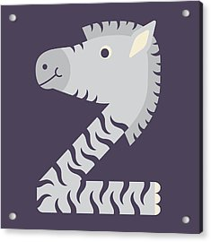 Letter Z - Animal Alphabet - Zebra Monogram Acrylic Print
