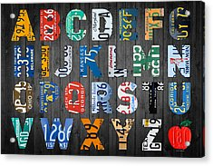 Letters Of The Alphabet Recycled Vintage License Plate Art With Apple Colorful School Nursery Kids Room Print Acrylic Print