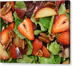 Acrylic Print featuring the digital art Lettuce Strawberry Plum Salad by Jana Russon