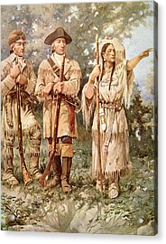 Lewis And Clark With Sacagawea Acrylic Print by Edgar Samuel Paxson