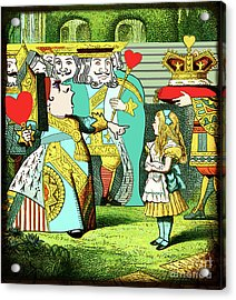 Lewis Carrolls Alice, Red Queen And Cards Acrylic Print by Marian Cates
