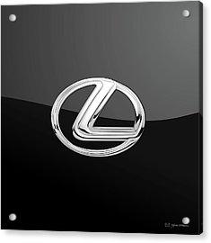 Lexus - 3d Badge On Black Acrylic Print by Serge Averbukh