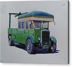 Acrylic Print featuring the painting Leyland Southdown Wrecker. by Mike Jeffries