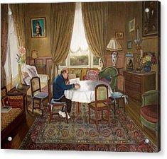 L'homme Qui Lit Acrylic Print by Dominique Amendola