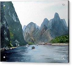 Li River China Acrylic Print by Marie Dunkley