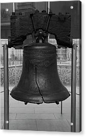 Acrylic Print featuring the digital art Liberty Bell Bw by Chris Flees