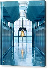 Liberty Bell Hanging In A Corridor Acrylic Print by Panoramic Images