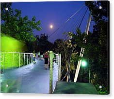 Liberty Bridge At Night Greenville South Carolina Acrylic Print by Flavia Westerwelle