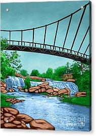 Liberty Bridge Greenville Sc Acrylic Print by Rachelle Petersen