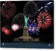 Liberty Fireworks 1 Acrylic Print by BuffaloWorks Photography